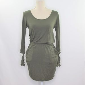 Lulu's Olive Green Mini Dress with Caged Cuffs